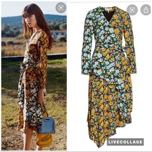 Maje Roen floral wrap midi dress